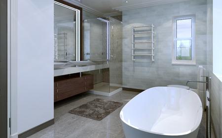 piastrelle bagno: Bagno stile moderno. Rendering 3D