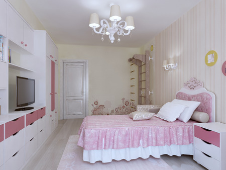 bedroom wall: Bedroom with swedish wall interior. 3d render Stock Photo