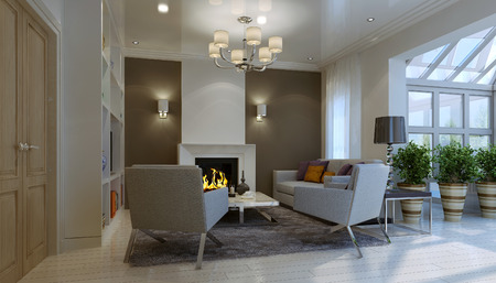 fireplace living room: Living room with fireplace. 3d render
