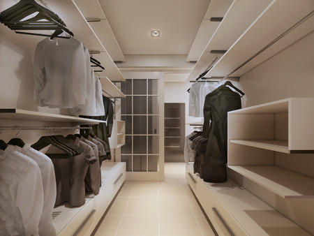 tienda de ropa: armario de lujo en estilo moderno. 3d Foto de archivo