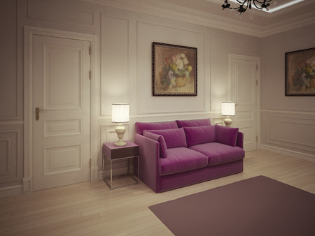 interior walls: Entrance hall in classic style. 3d render