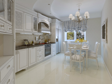 oven range: Classic style kitchen. 3d render