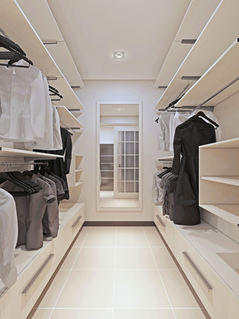 walk in closet: Large wardrobe in a modern style interior. 3d render
