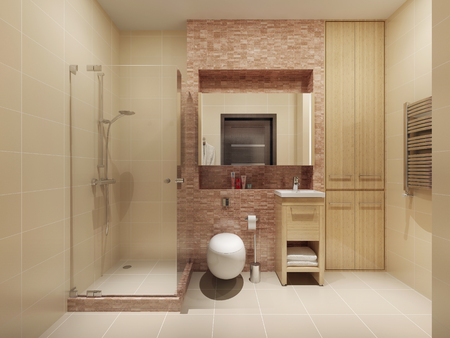 High-tech bathroom interior. 3d render Фото со стока