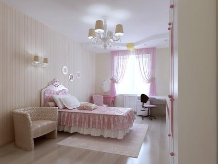 princesa: dormitorio joven princesa. 3d
