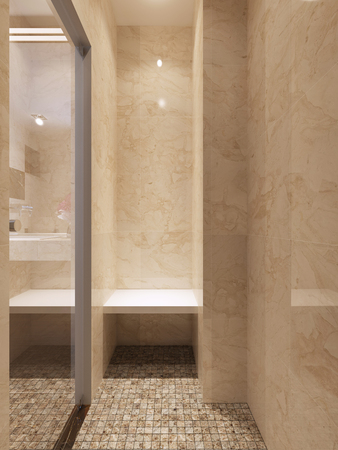 contemporary style: Contemporary style glass shower. 3d render
