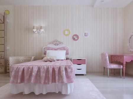teen bedroom: Luxury bedroom interior. 3d render
