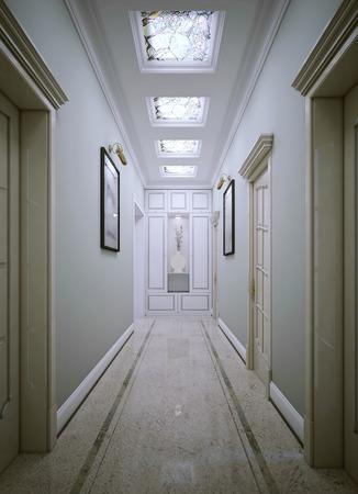 neoclassic: Corridor neoclassic style. 3d render