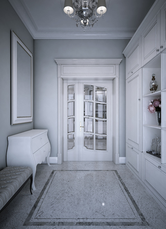 cream color: Entrance hall art deco style. 3d render