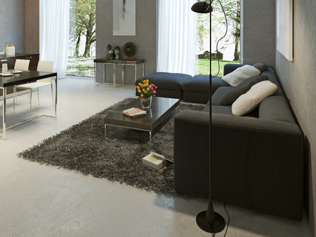 floor lamp: Living room high-tech style. 3d render