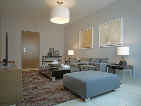 vintage living room: Vintage living room design. 3d render