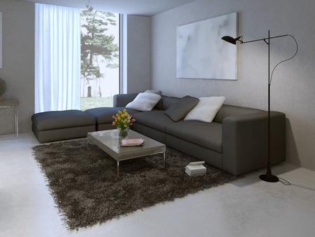 diseño de la sala de estar moderna. 3d