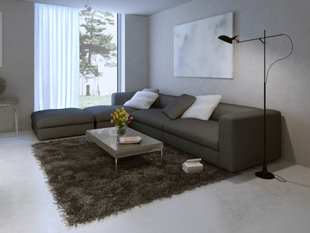 polished plaster walls: Modern living room design. 3d render