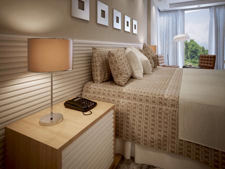 Eclectic Bedroom Design. 3d Render Stock Photo   47279787