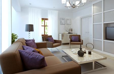 living style: Bright living room modern style. 3d render