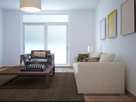 bright paintings: Living room minimalism style. 3d render