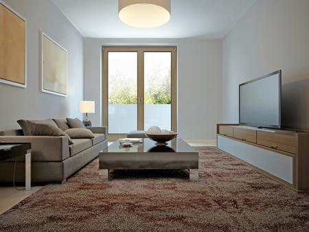 avantgarde: Spasious living room avant-garde style. 3d render Stock Photo