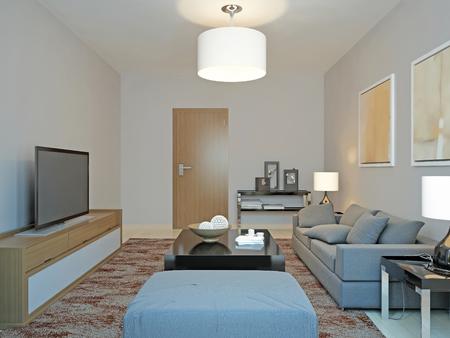 room decor: Roomy living room minimalism. 3d render Stock Photo