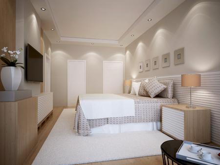 ceiling plate: Modern bedroom design. 3d render