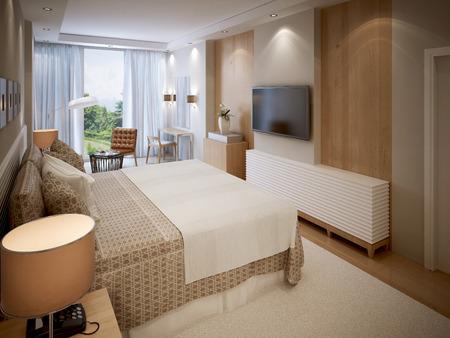 ceiling plate: High-tech bedroom design. 3d render