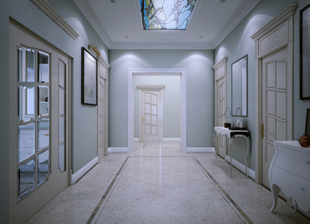 sconces: Entrance hall classic style. 3d render