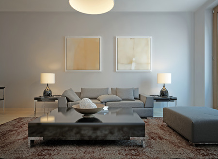 room wall: Living room minimalism style. 3d render