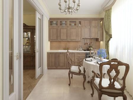 classic: Classic kitchen interior. 3d render