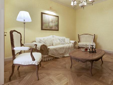classic living room: Elegant living room classic style. 3d render