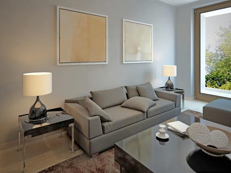 room decor: Living room avant-garde style. 3d render