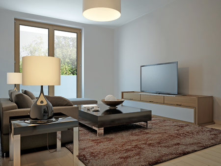 avantgarde: Living room scandinavian style. 3d render