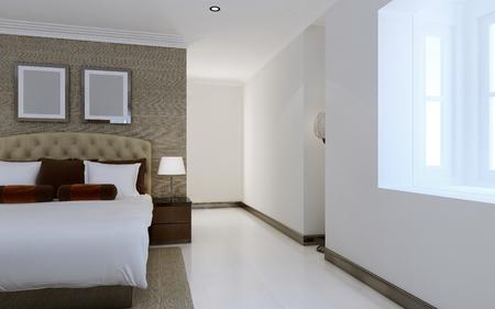 bedroom design: Spacious bedroom design. 3d render Stock Photo