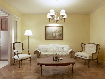 classic living room: Living room classic style. 3d render