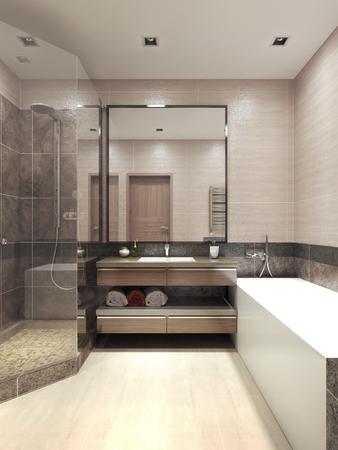 cabine de douche: High-tech de inter salle de bains. 3d render Banque d'images