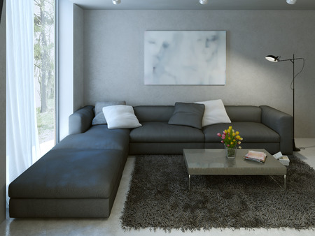 vase plaster: Contemporary living room design. 3d render