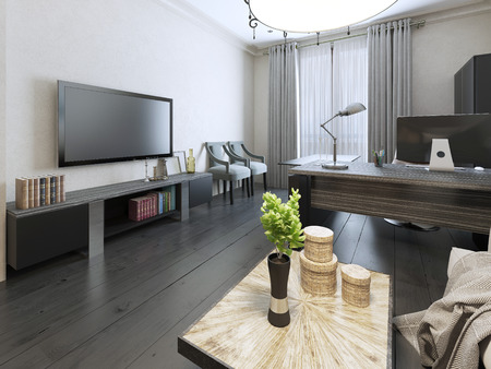 living unit: Negotiation room eclectic design. 3d render