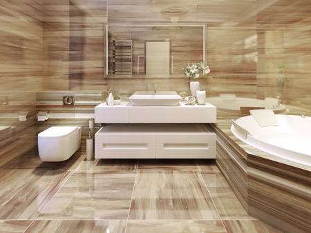 Bathroom art deco style. 3d render Stock Photo