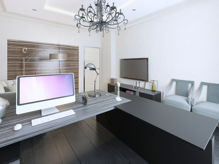 working area: Working area contemporary style. 3d render