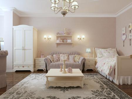 provence: Renaissance bedroom-living room . 3d render
