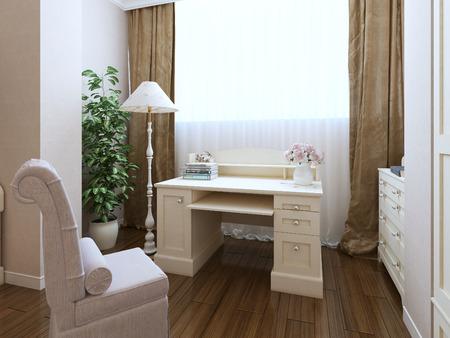 Classic dressing corner interior. 3d render