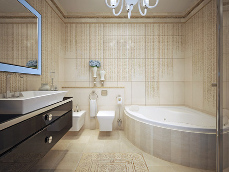 black bathroom: Classic bathroom interior. 3d render