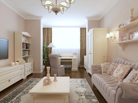renaissance: Spacious bedroom renaissance style. 3d render Stock Photo