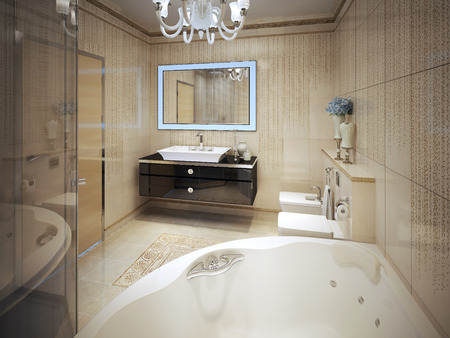 Expensive Bathroom Modern Style 3d Render Stock Photo