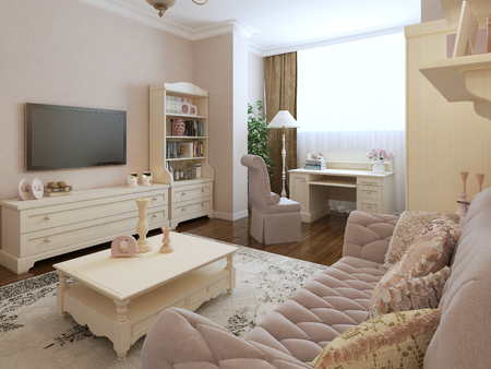 Classic living room design. 3d render
