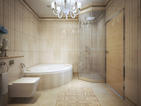 blue carpet: Expensive bathroom with jacuzzi. 3d render Stock Photo