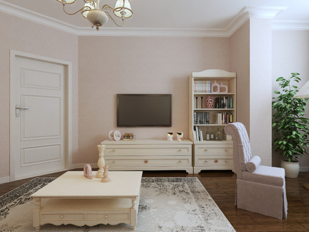 avant garde: Provence living room design. 3d render