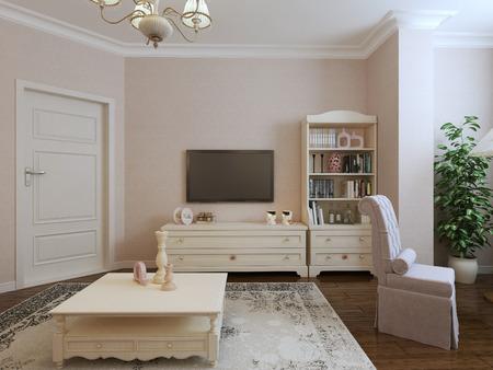 room door: Provence living room design. 3d render