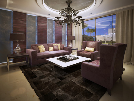 luxury living room: Luxury living room art deco style. 3d render