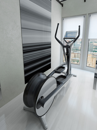 Exercise bike in gym. 3d render Stock Photo
