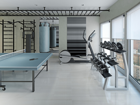 fitness gym: Fitness center  minimalism style. 3d render