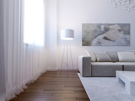 sofas: Bright living room interior. 3d render Stock Photo